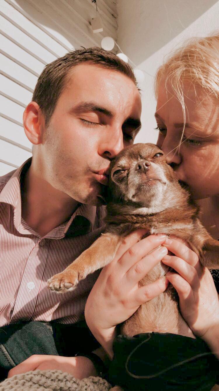 bild på två personer som pussar en brun chiuaua