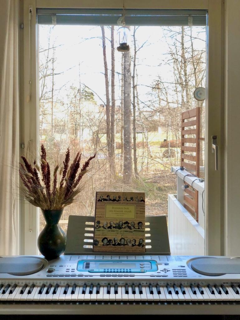bild på en keyboard som står vid et fönster på står också en vas med torkade växter och en klassisk musikbok av sebastian thorell