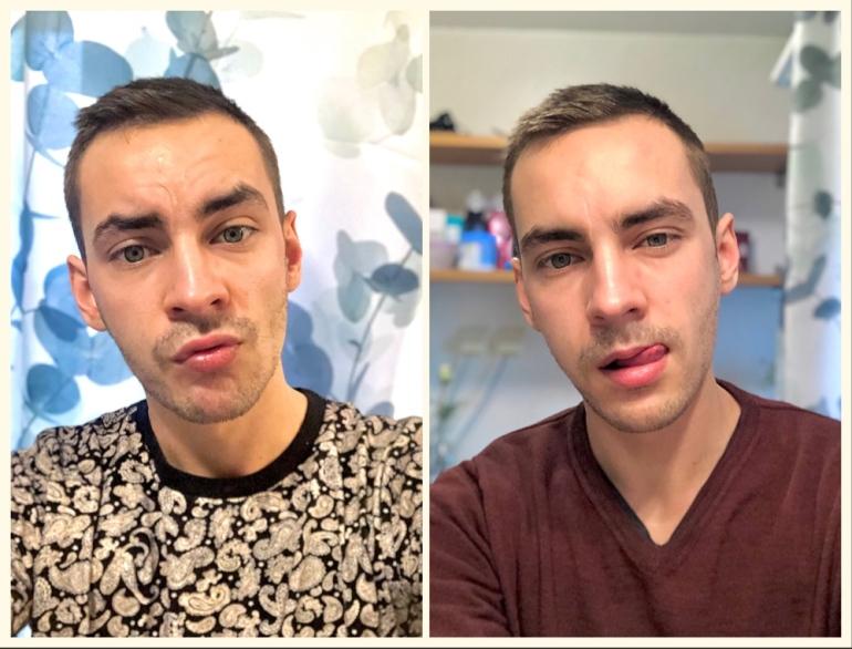 en kollagebild på två selfies av sebastian thorell