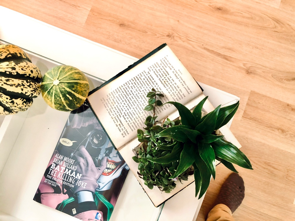 i bild syns en bok som gjorts om till kruka och två pumpor på enn soffbord av sebastian thorell
